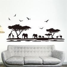 Black Safari Animals and Tree Wall Sticker for Home Decoration