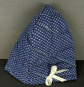 Handmade Baby Girl Hat Polka Dot Heart Pattern Blue White Bow Front Quilted