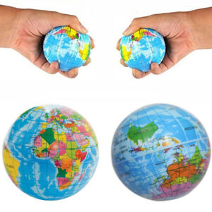Stress Relief World Map Globe Squeeze Ball Hand Wrist Finger Sponge Toy 3 Sizes