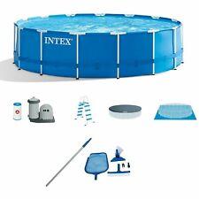 "Intex 15'x48"" Metal Frame Above-Ground Pool & Maintenance Kit w/ Vacuum & Pole"