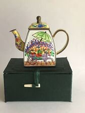 Charlotte Di Vita Miniature Enamel Flower Market Stall Teapot Trade + Aid. Boxed