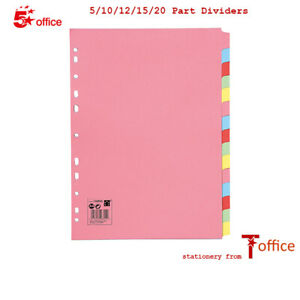 Dividers A4 Multi Coloured Subject File Punched - 5,10,12,15, 20 part