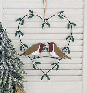 Christmas Robin & Mistletoe Wreath Xmas Door Hanger Festive Home Decoration Gift