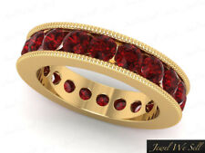 4.35Ct Ruby Channel Set Milgrain Wedding Eternity Band Ring 10k Yellow Gold AAA