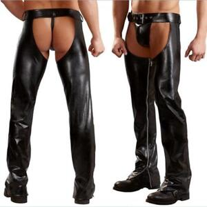 Men's Exotic Sexy Latex Pants Fashion Open Crotch Trousers Tight Pants Clubwear