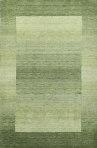 7x10 ft. Green Contemporary Gabbeh Oriental Area Rug Living Room Wool Carpet
