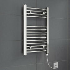 Bathroom Electric Curved Towel Rail Ladder Radiator 700 x 400mm Chrome 150W