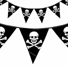 PIRATE BUNTING BANNER - SKULL - BIRTHDAY PARTY - 4 metres,over 12 feet long