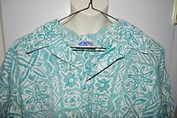 VTG The Men's Store at Sears Reverse Print Hawaiian Tapa Blue Camp Shirt Large