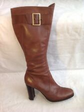 Faith Brown Knee High Leather Boots Size 7