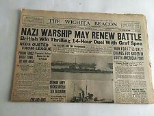 VTG Newspaper Dec.14 1939 Nazi Warships May Renew Battle Wichita Eagle Section A