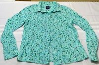 Basic editions women's small blue flower long sleeve button work career floral
