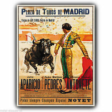 Bullfighter El Matador Bull Fighting A3 METAL WALL SIGN PLAQUE vintage print