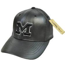 Michigan Wolverines Faux Leather Flex Fit Size Medium Med Black Silver Hat Cap