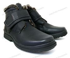 NIB Men's Winter Boots Black Fur Lined Hook and Loop Ankle Warm Snow Shoes Sizes