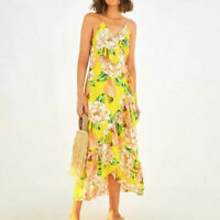 NWT $178 ANTHROPOLOGIE BY FARM RIO NEOMA WRAP MAXI DRESS SIZE XS YELLOW FLORAL