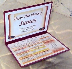 18TH BIRTHDAY PERSONALISED GIFT - THE DAY YOU WERE BORN + PERSONALISED MESSAGE