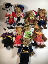 "Christopher Radko Teddies Around The World 8"" Plush Christmas Ornaments Lot Of 9"