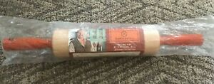 NEW Fletcher's Mill Mario Batali Maple 10 Inch Rolling Pin with Orange Handles