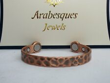 ARABESQUES High strength Mens Medium hammered copper BIO magnetic bangle ajmb