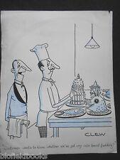 """Clifford C Lewis """"Clew"""" Original Pluma Y Tinta De Dibujos Animados-Posh Chef/Bread Pudding #51"""