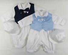 Boys Christening Romper Suit Bow Tie Vest Matching Hat White Sky Blue Navy 0-18M