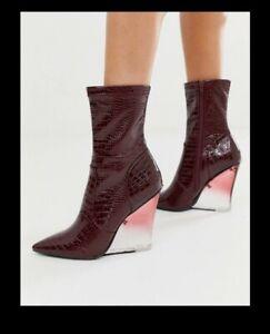 Asos Burgundy Croc Print Ankle Wedge Boot Perspex Heel
