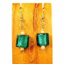 "1"" Jade Green Color Lampwork Glass Handmade Drop Dangle Earring FREE SHIPPING!"