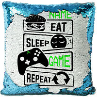 Personalised EAT SLEEP GAME Sequin Cushion Gamer Cover Magic Reveal Pillow