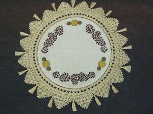 Vintage Arts & Crafts Linen Silk Embroidered Pinecone Table Doily Centerpiece