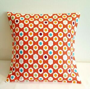 "14"" 16"" 18"" 20"" New Cushion Cover Mango Orange Geometric Print Handmade"