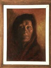 Excellent Portrait _'WISDOM' Vintage Oil Painting Solid Frame