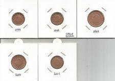 BELGIO - Lotto di 5 monete da 1, 2 e 5 Euro Cent 1999/2001  FDC