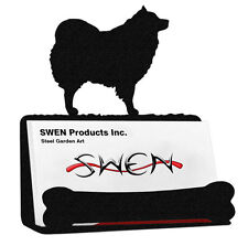 Swen Products Spitz Samoyed American Eskimo Dog Black Metal Business Card Holder