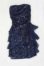 ARROGANT CAT Womens Navy Sequin Tiered Ruffled Strapless Mini Dress XXS/00 NEW
