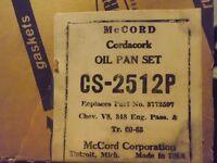 NOS McCord Gasket Oil Pan Set 3772597 Chevrolet V8 348 Engine 1960-1963 CS-2512P