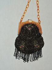 1920-30's Seed Beaded Purse Floral Design