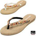 Alpine Swiss Women's Bohemian Sandals Wood Bead Thongs Comfort Flats Flip Flops
