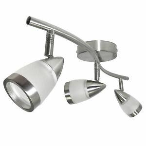 Curved Bar 3 Way GU10 Spot Satin Ceiling Light Fitting Spotlight Kitchen 240v