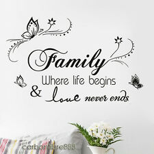 Family Wall Stickers Quote Art Decal Mural Paper Butterfly Vines Home Decoration