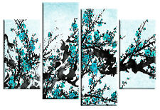 LARGE TURQUOISE BLUE BLOSSOM TREE PAINTING FLORAL CANVAS WALL ART PICTURE 100cm