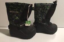 Columbia Toddler kids winter waterproof Rubber snow boots sz 6 black green Nwot