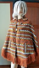 Vintage Maya Woman's Huipil  Orange Boho Poncho Fringed Button Cape Guatemala