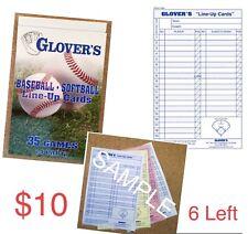 Glovers Baseball/Softball 4 part Dugout/Lineup Cards 35 Games
