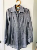 REVIEW Size 8 Blue Long Sleeve Pleated Front Flared Button Up Light Cotton Shirt