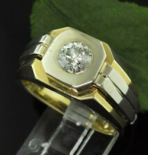 0.70 ct men's mens Natural Diamond Solitaire Ring 14k 2 Tone gold made in USA