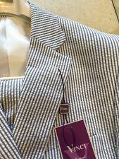 NWT VINCI Modern Fit 100% Cotton Blue/White Seersucker 2BT Men Suit Size 44R