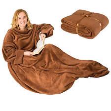 Manta con mangas + bolsillo para el móvil cama sofá dormir 170x200 cm beige