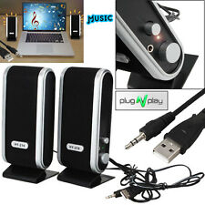 Portable USB Multimedia Stereo Speakers System For PC Laptop Computer Desktop UK