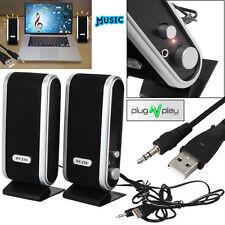 Portable USB Multimedia Stereo Speakers System for PC Laptop Computer Desktop UK